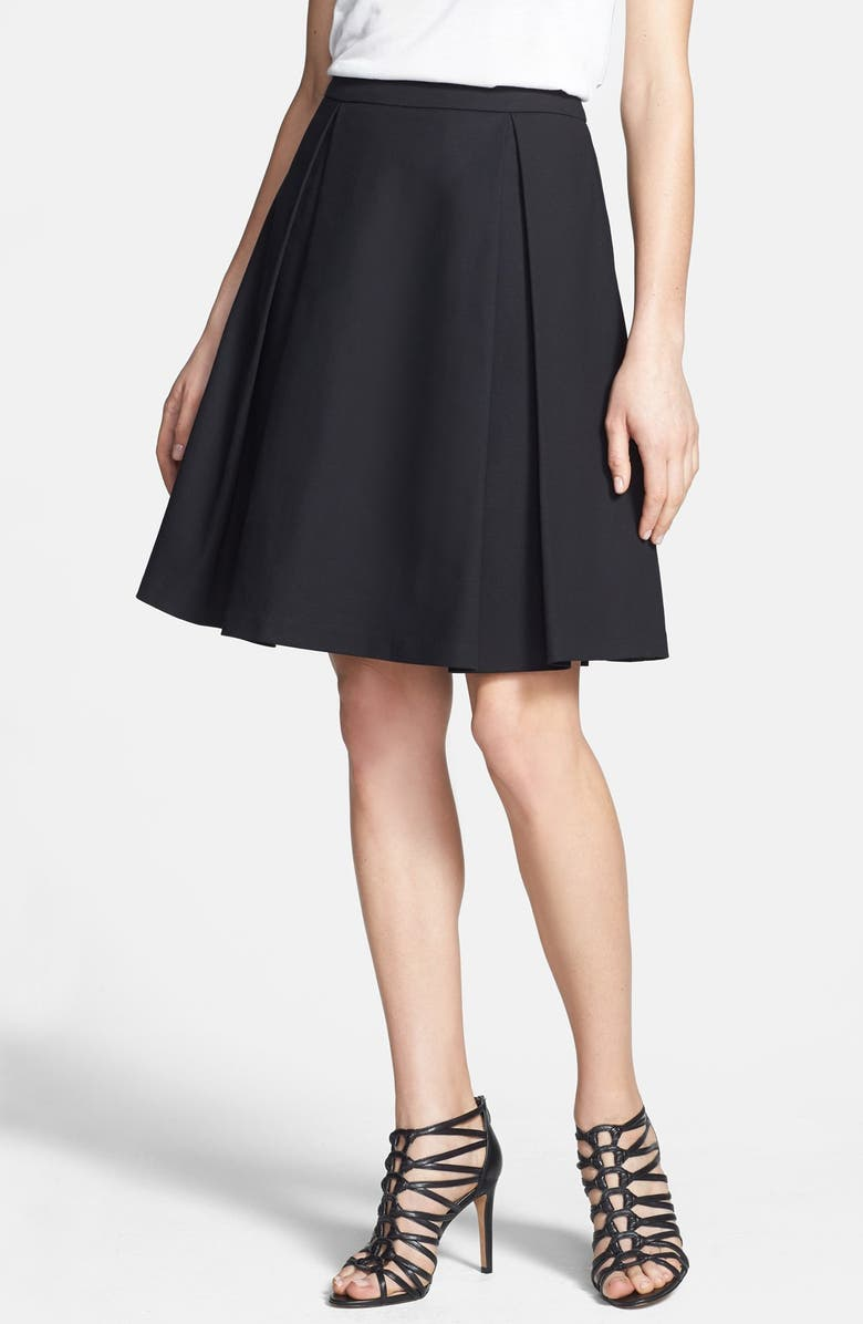 VINCE CAMUTO Pleated A-Line Skirt, Main, color, 001