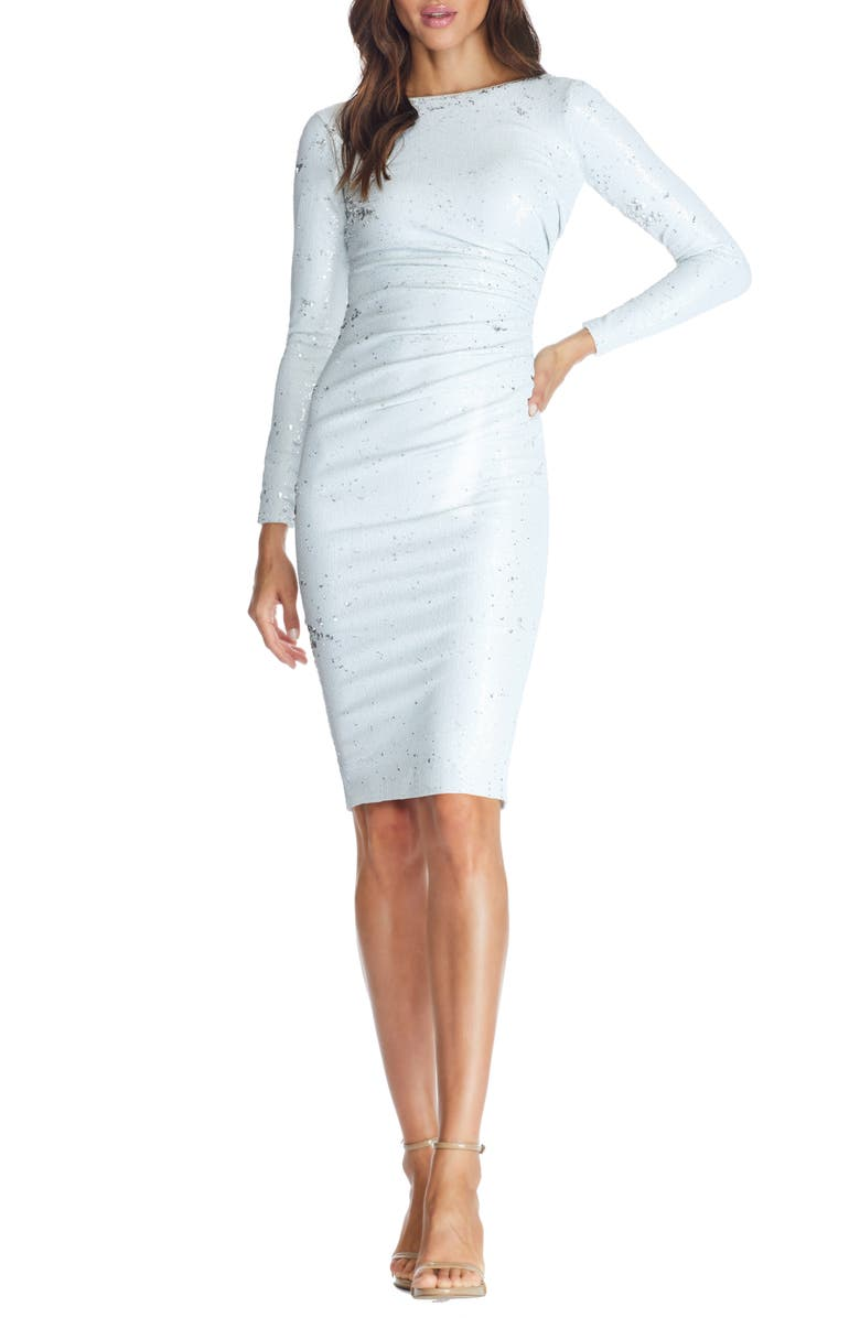 DRESS THE POPULATION Emilia Sequin Long Sleeve Cocktail Dress, Main, color, 113