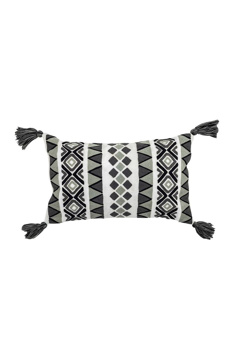 """DIVINE HOME Embroidered Louise Outdoor Pillow - 12"""" x 20"""" - Gray/Black, Main, color, GRAY / BLACK"""
