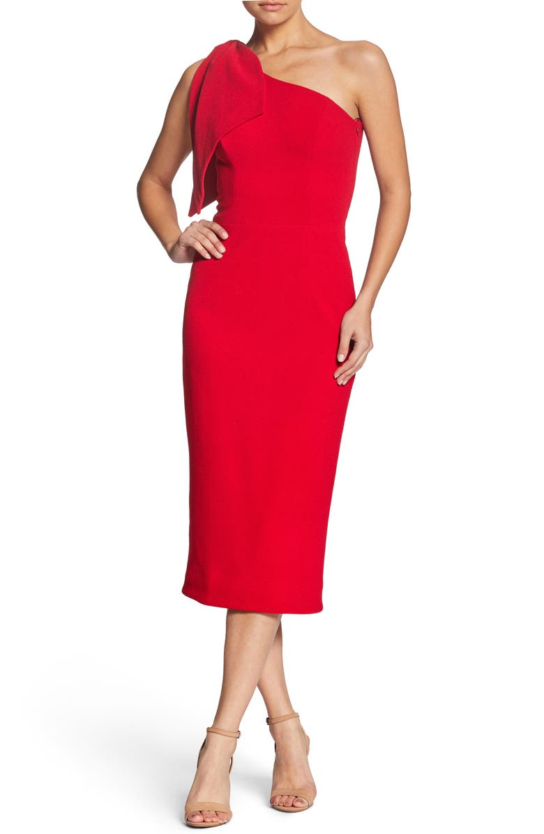 DRESS THE POPULATION Tiffany One-Shoulder Midi Dress, Main, color, ROUGE
