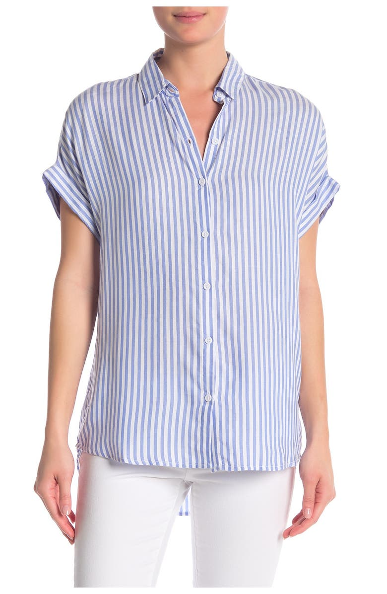 BEACHLUNCHLOUNGE Spencer Striped Short Sleeve Camp Shirt, Main, color, BLUE ICE