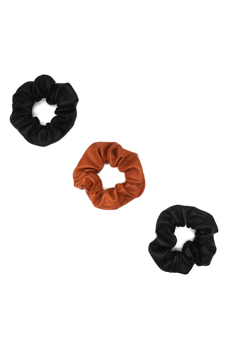 TASHA 3-Pack Faux Leather Scrunchies, Main, color, 001