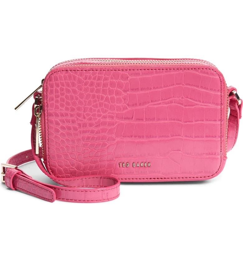 TED BAKER LONDON Stina Embossed Faux Leather Crossbody Bag, Main, color, PINK