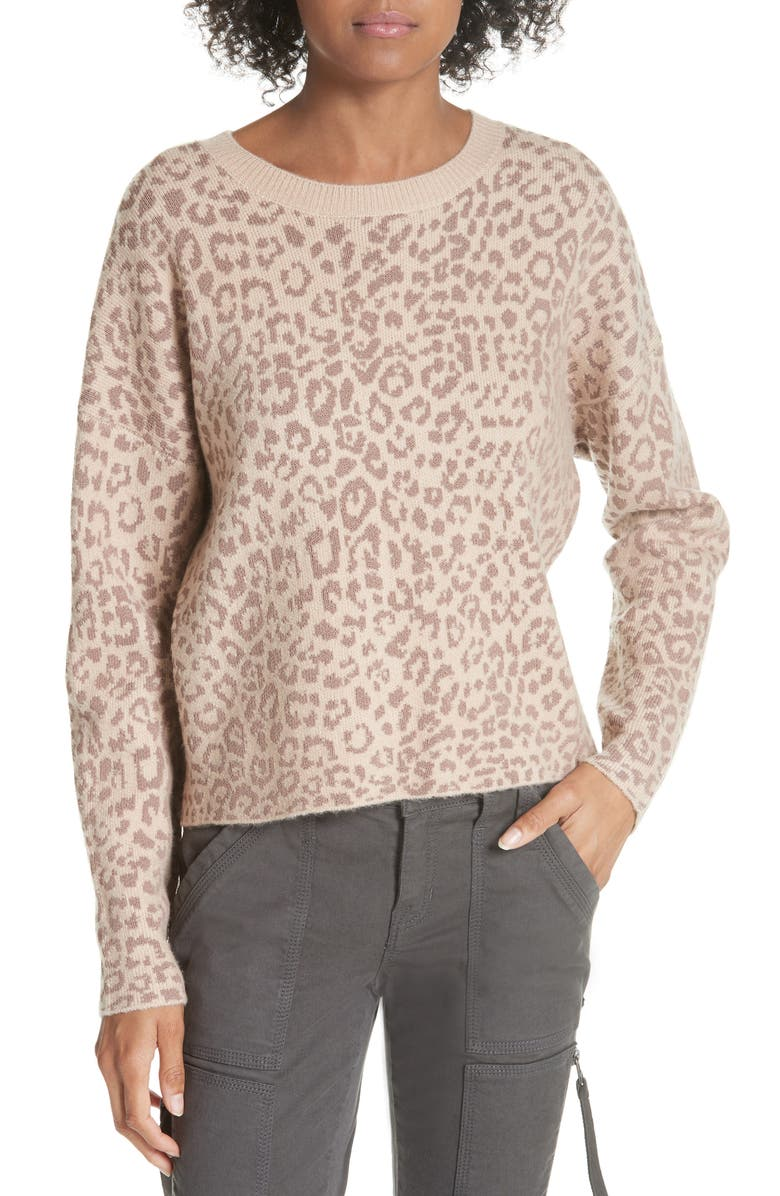 JOIE Leopard Print Sweater, Main, color, LIGHT TAUPE