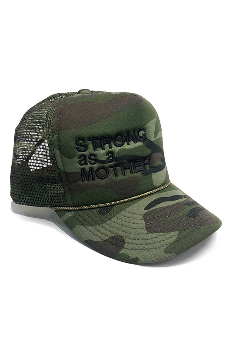 BUN MATERNITY Strong as a Mother Trucker Hat, Main, color, CAMOUFLAGE