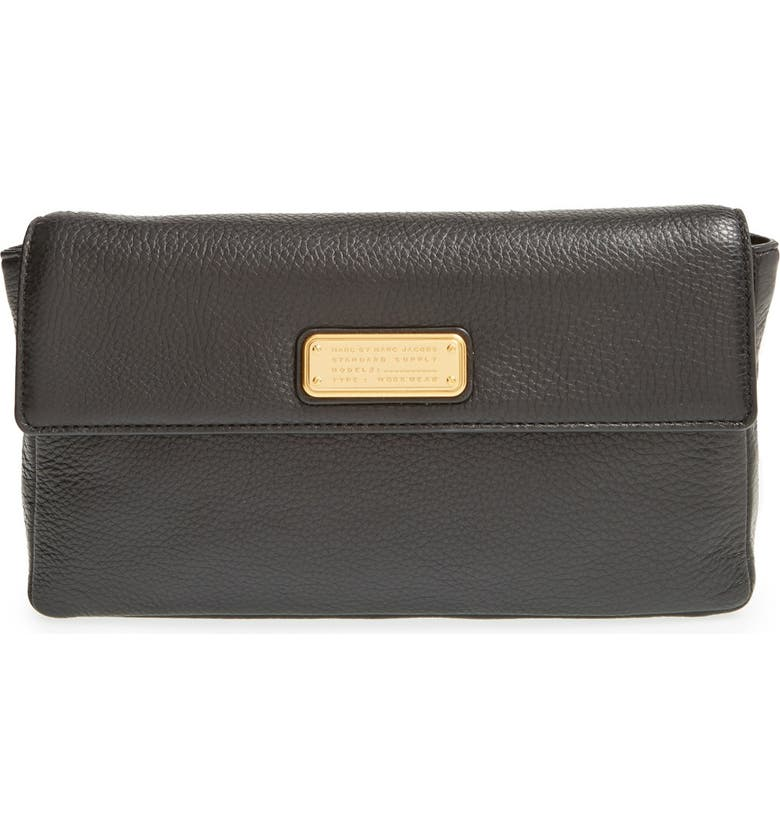 MARC JACOBS MARC BY MARC JACOBS 'Jemma' Pebbled Leather Clutch, Main, color, 001