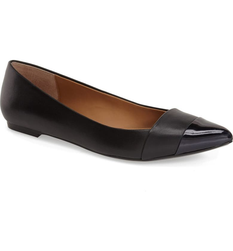 CALVIN KLEIN 'Goldie' Pointy Toe Ballet Flat, Main, color, 001