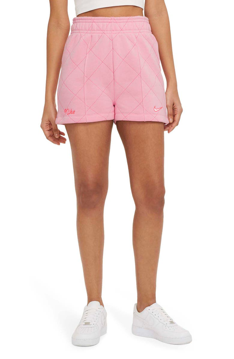 NIKE Sportswear Quilted Fleece Shorts, Main, color, PINK/ WHITE/ SUNSET PULSE