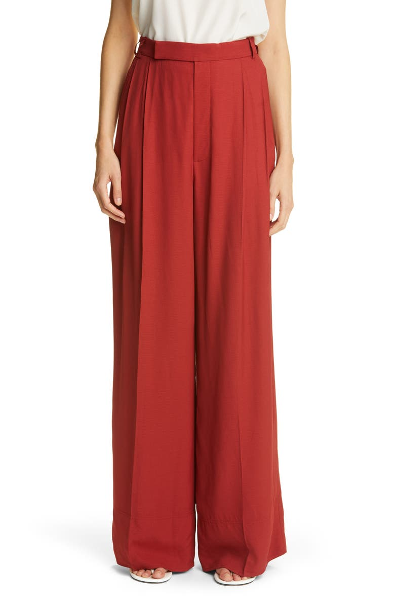 ST. JOHN COLLECTION Pleated Silk Palazzo Pants, Main, color, BRICK