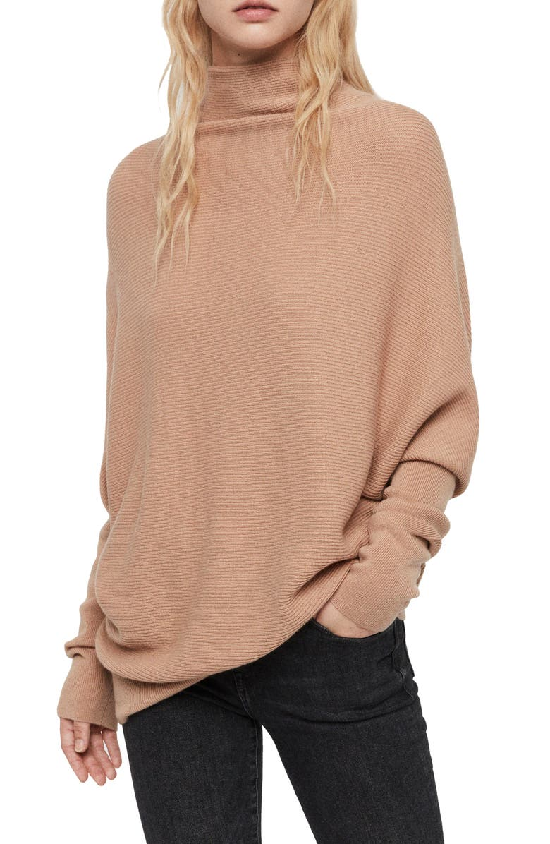 ALLSAINTS Ridley Funnel Neck Wool & Cashmere Sweater, Main, color, TOFFEE BROWN