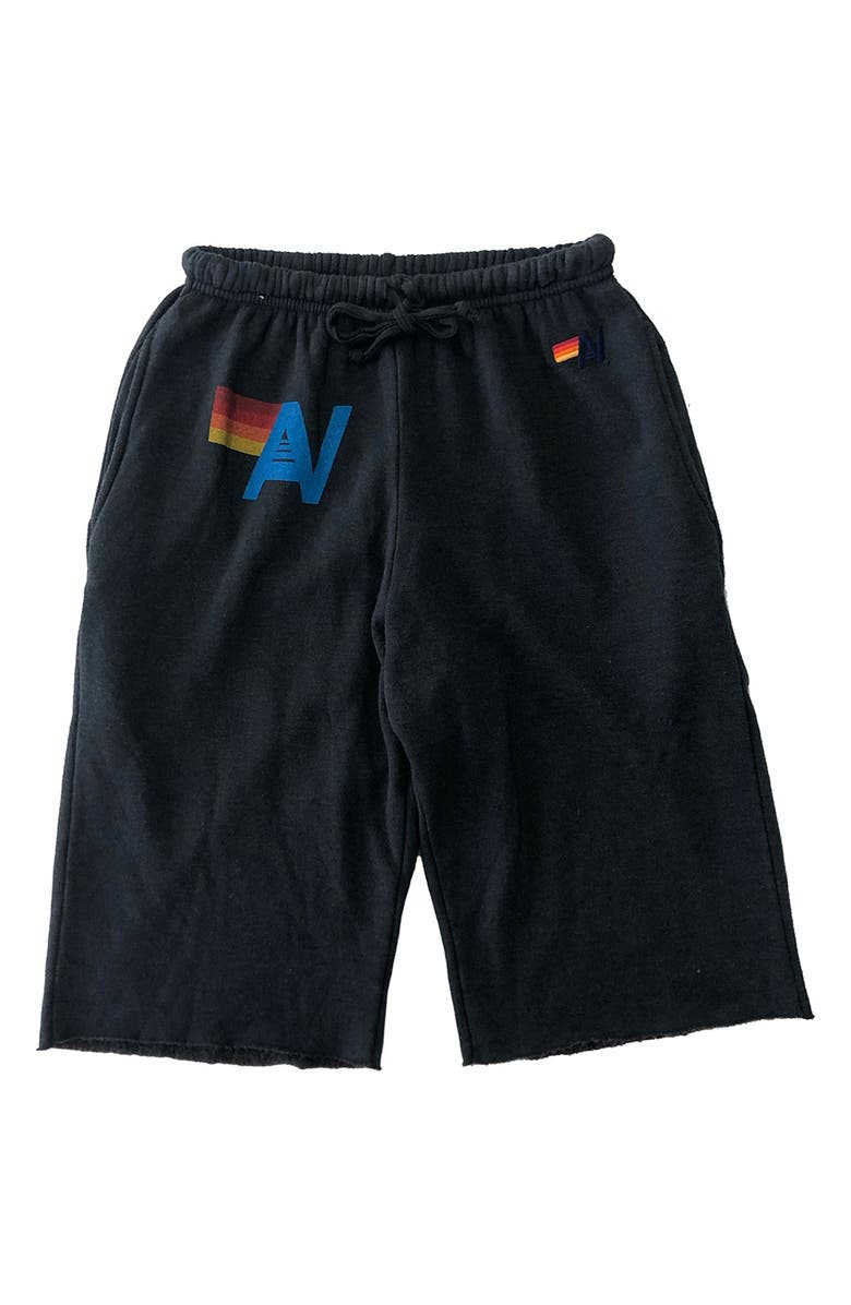 AVIATOR NATION Cotton Blend Sweat Shorts, Main, color, CHARCOAL