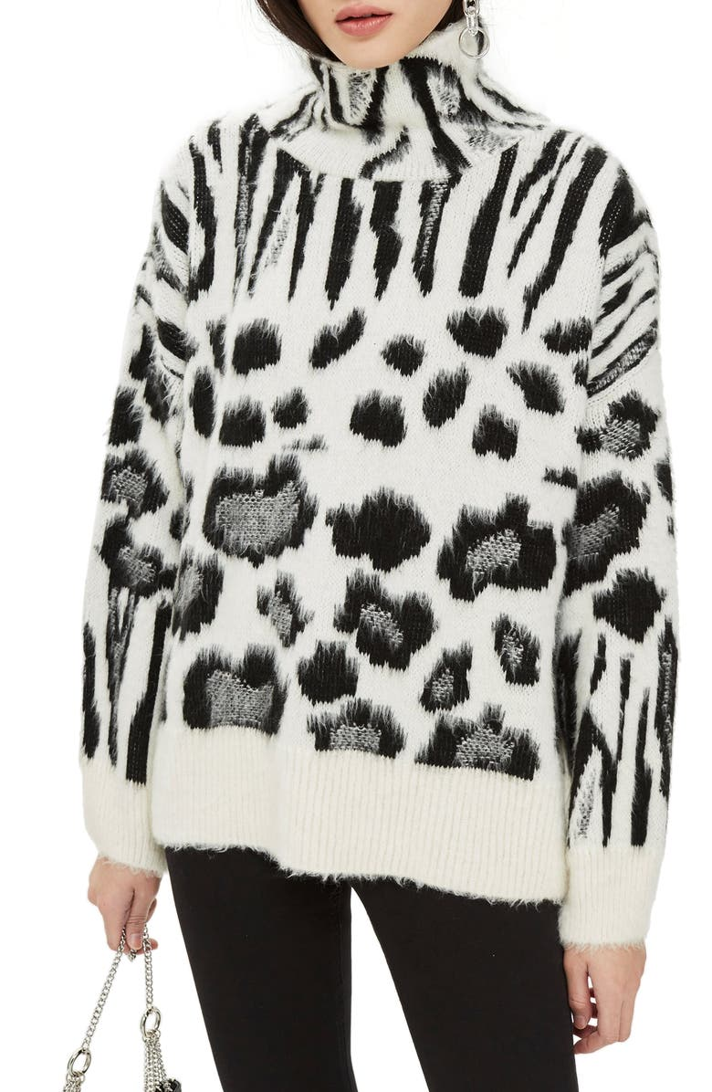 TOPSHOP Zebra Mix Turtleneck Sweater, Main, color, 002