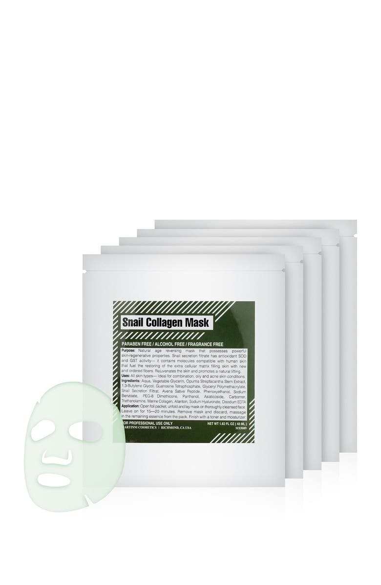 MARTINNI Snail Collagen Mask - Pack of 5, Main, color, NO COLOR