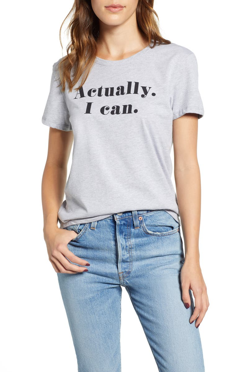 PRINCE PETER Actually I Can Graphic Tee, Main, color, HEATHER GREY