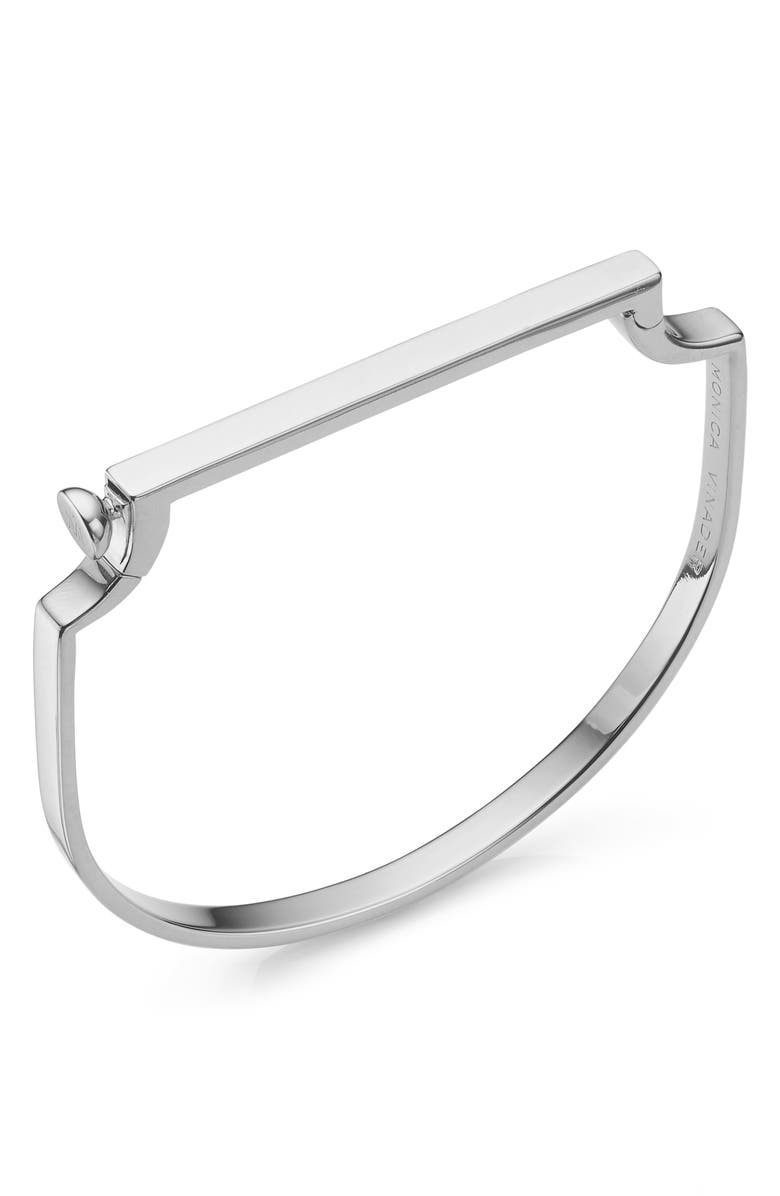 MONICA VINADER Engravable Signature Thin Bangle, Main, color, SILVER