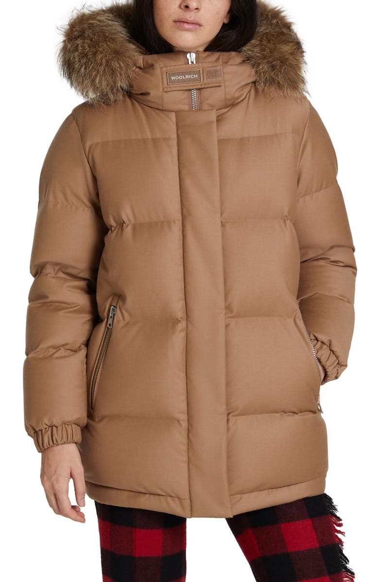 WOOLRICH Luxe Aliquippa Down Parka with Genuine Coyote Fur Trim, Main, color, CHIPMUNK