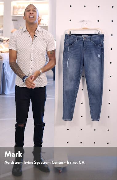 Luxe Touch Fray Hem Ankle Skinny Jeans, sales video thumbnail