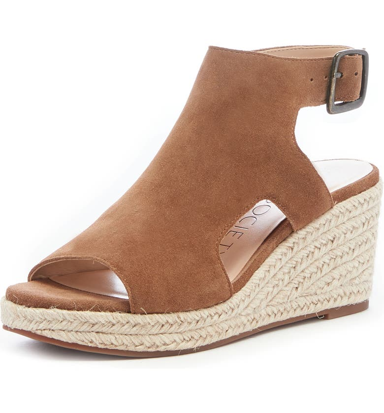 SOLE SOCIETY Camreigh Espadrille Wedge, Main, color, TOBACCO BROWN SUEDE