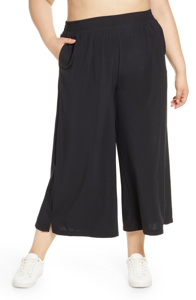 ZELLA High Waist Crop Wide Leg Woven Pants, Main, color, 001