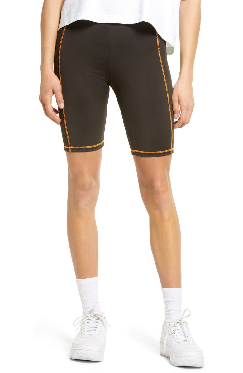 BP. Contrast Stitch Bike Shorts, Main, color, 001