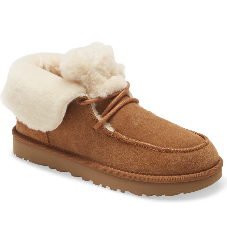 UGG<SUP>®</SUP> Diara Genuine Shearling Bootie, Main, color, CHESTNUT SUEDE
