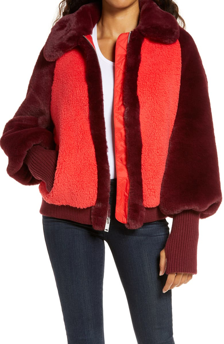 UGG<SUP>®</SUP> Augusta Faux Fur & Faux Shearling Baseball Jacket, Main, color, SPANISH RED
