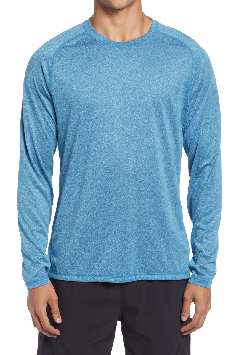 ZELLA Men's Performance Long Sleeve T-Shirt, Main, color, TEAL SEAPORT MELANGE