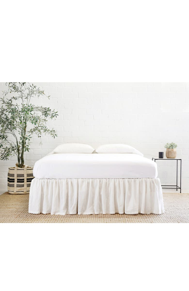 POM POM AT HOME Gathered Linen Bed Skirt, Main, color, CREAM
