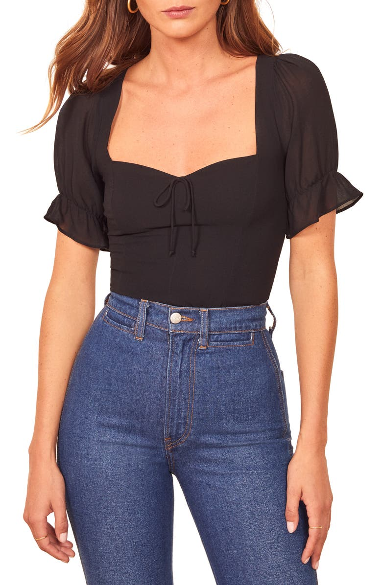 REFORMATION Delevan Ruffle Sleeve Top, Main, color, BLACK