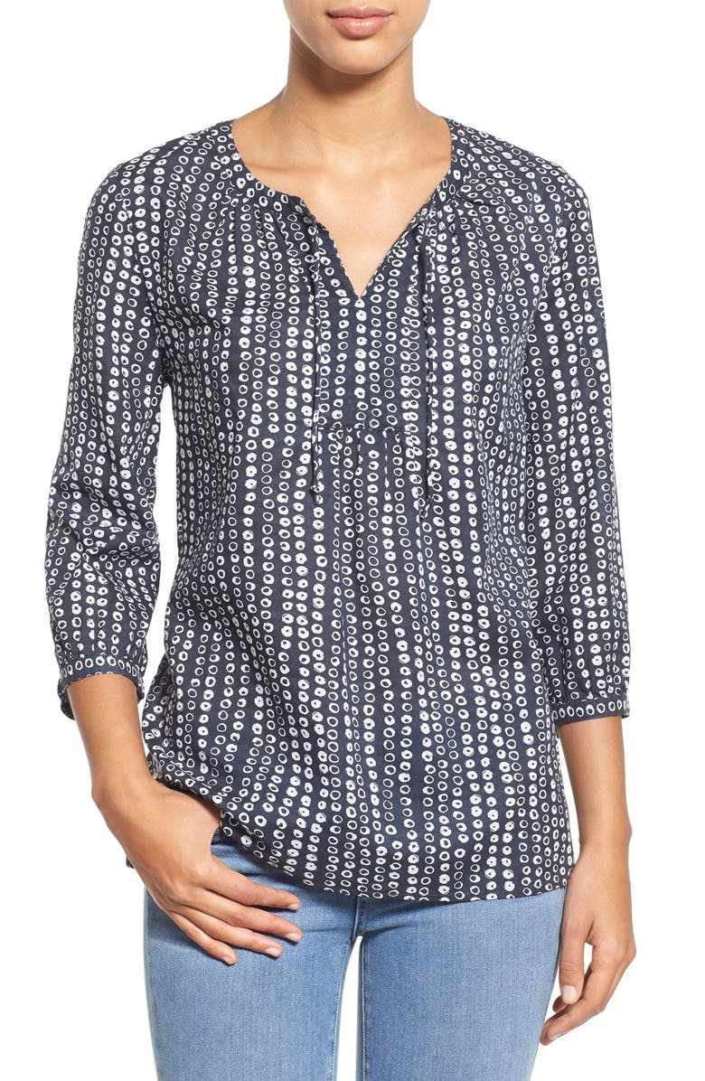 CASLON<SUP>®</SUP> Print Split Neck Boho Blouse, Main, color, 021