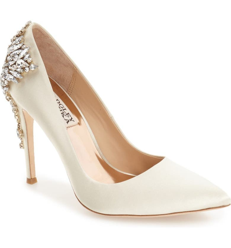 BADGLEY MISCHKA COLLECTION Badgley Mischka Gorgeous Crystal Embellished Pointed Toe Pump, Main, color, IVORY SATIN