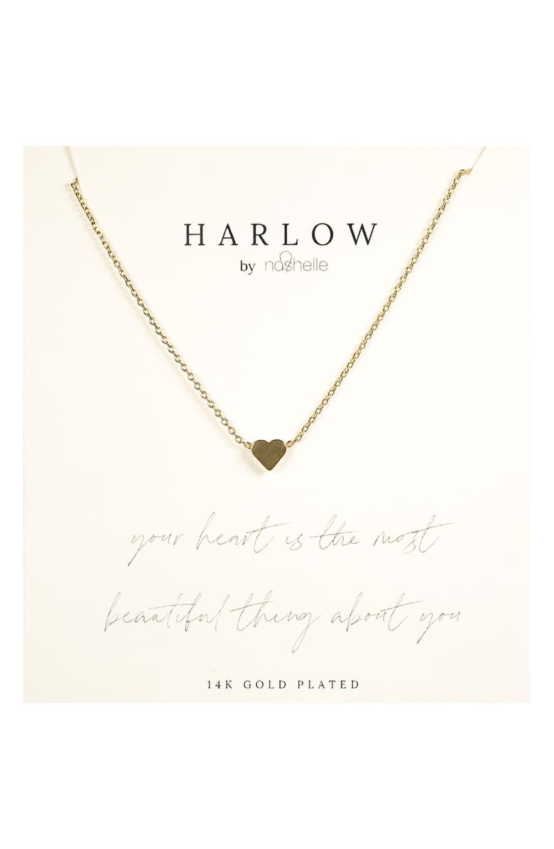 NASHELLE HARLOW by Nashelle Simple Heart Boxed Necklace, Main, color, Gold