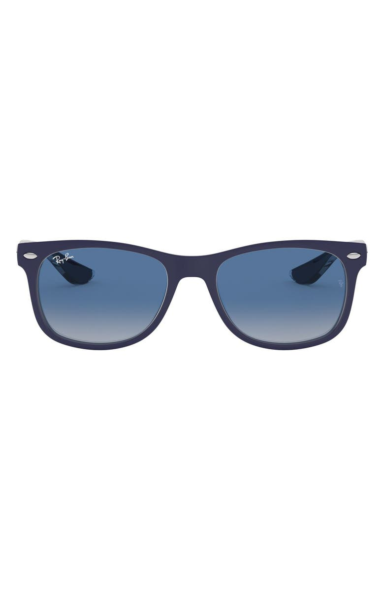 RAY-BAN Junior 48mm Wayfarer Sunglasses, Main, color, MATTE BLUE/ GREY BLUE GRADIENT