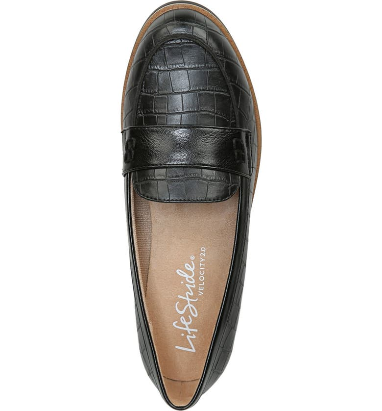 LIFESTRIDE Zee Croc Embossed Leather Loafer - Wide Width Available, Main, color, BLACK
