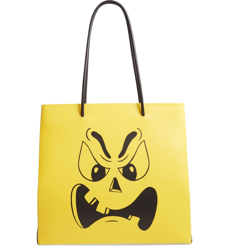 MOSCHINO Pumpkin Face Leather Tote, Main, color, 700