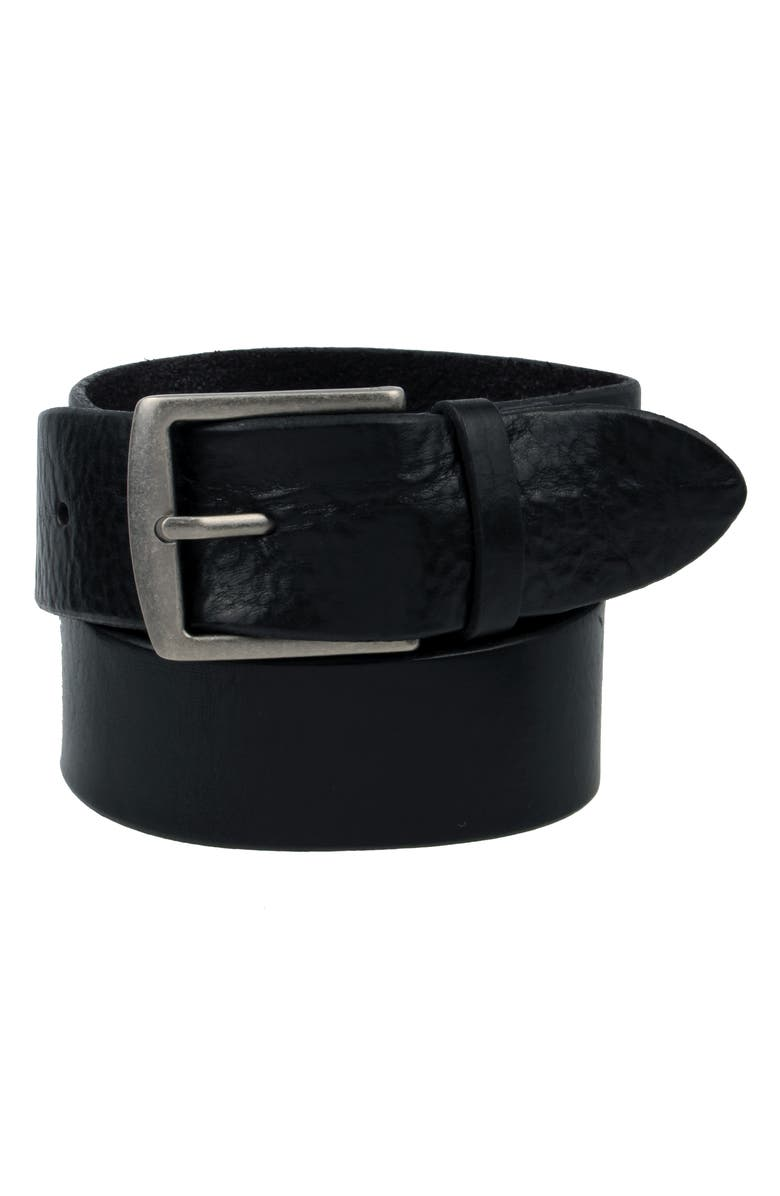 FRYE Pebbled Leather Belt, Main, color, Black