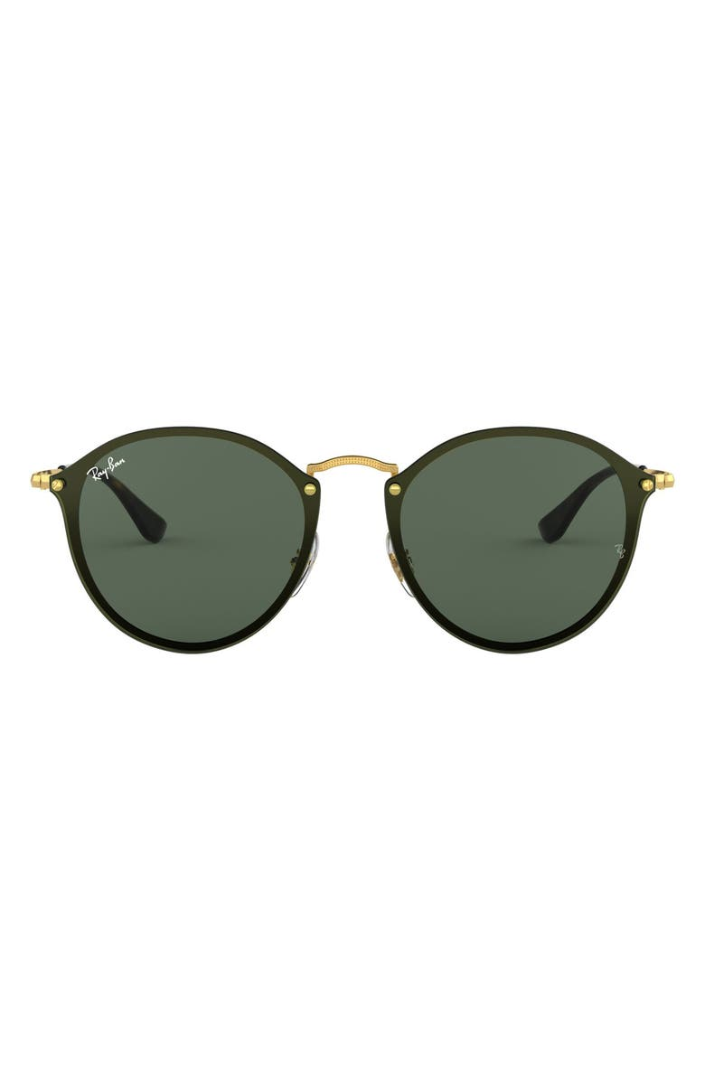 RAY-BAN Blaze 59mm Round Sunglasses, Main, color, GOLD/ GREEN
