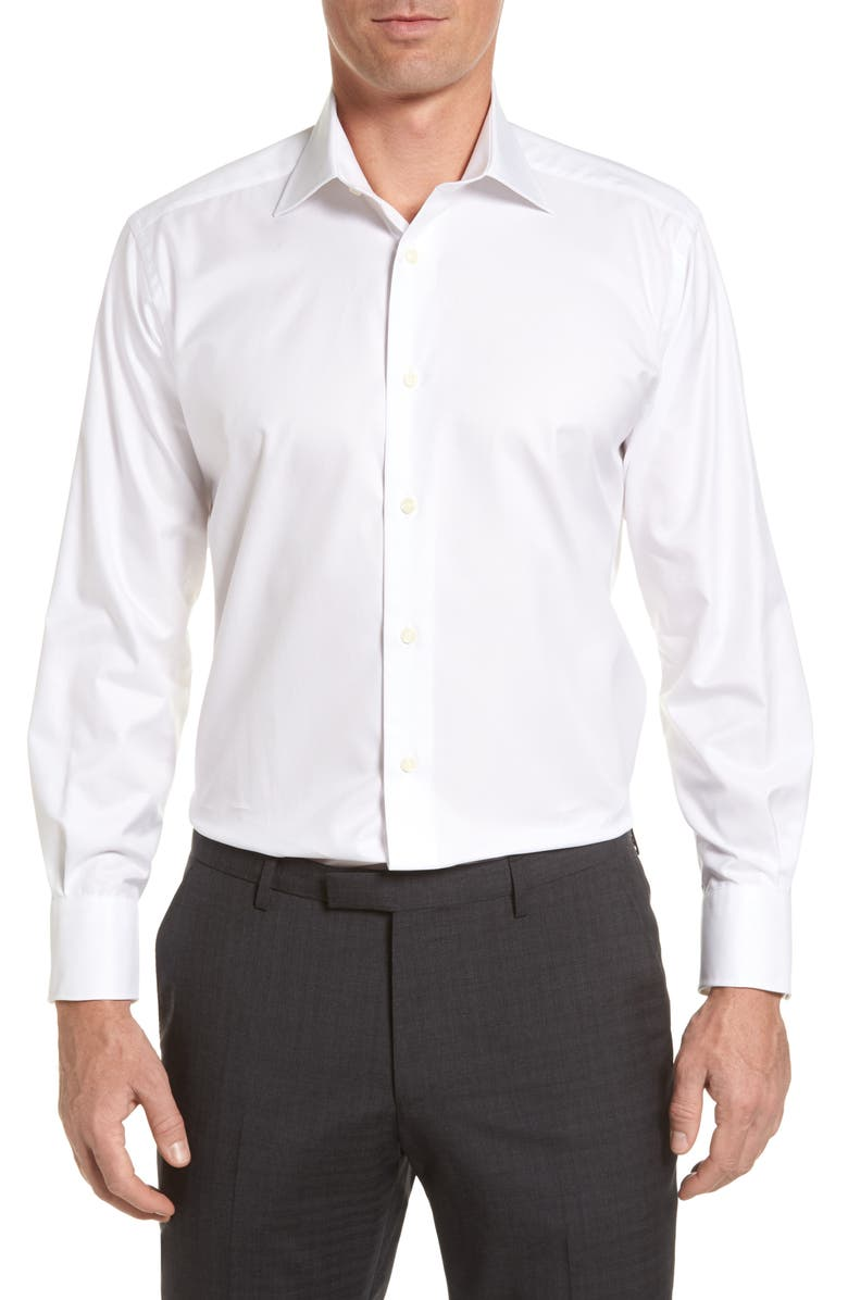 DAVID DONAHUE Regular Fit Solid Dress Shirt, Main, color, WHITE
