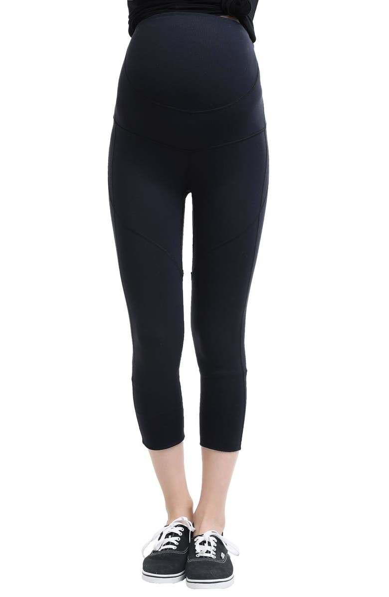 KIMI AND KAI Elle High Performance Cropped Maternity Leggings, Main, color, BLACK