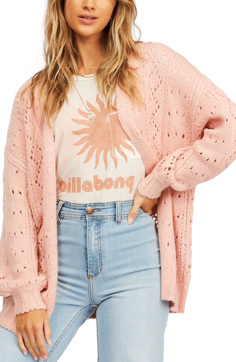 BILLABONG Blissed Out Pointelle Cardigan, Main, color, TICKLED PINK