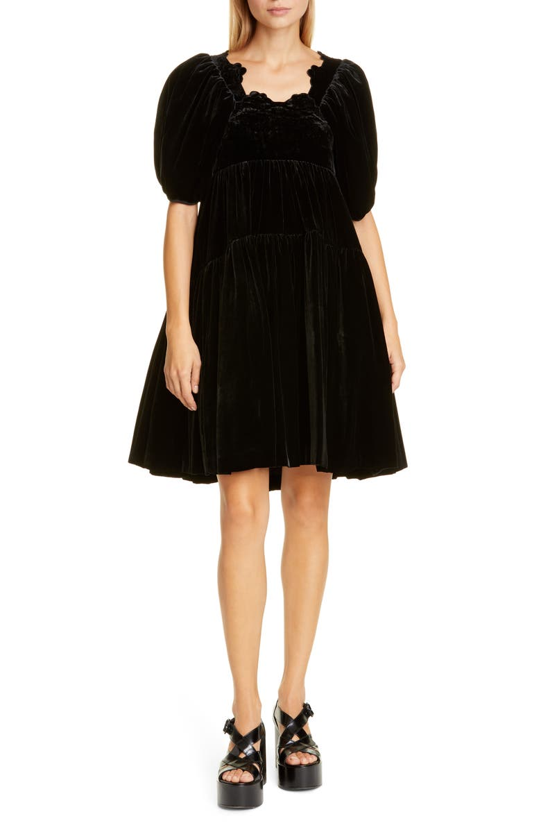 CECILIE BAHNSEN Aviaja Tiered Velvet Dress, Main, color, 001