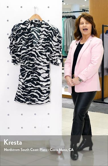 Zebra Print Puff Sleeve Stretch Silk Minidress, sales video thumbnail
