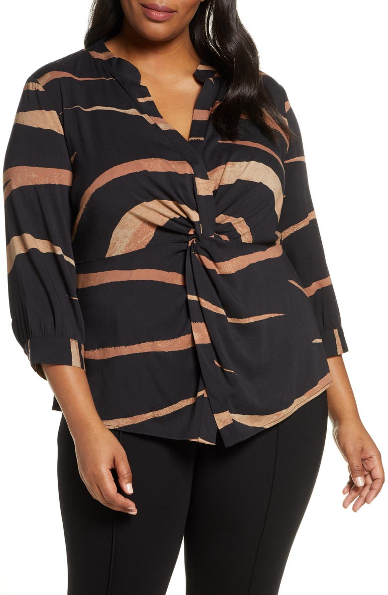 NIC+ZOE Abstract Animal Twist Front Top, Main, color, 004