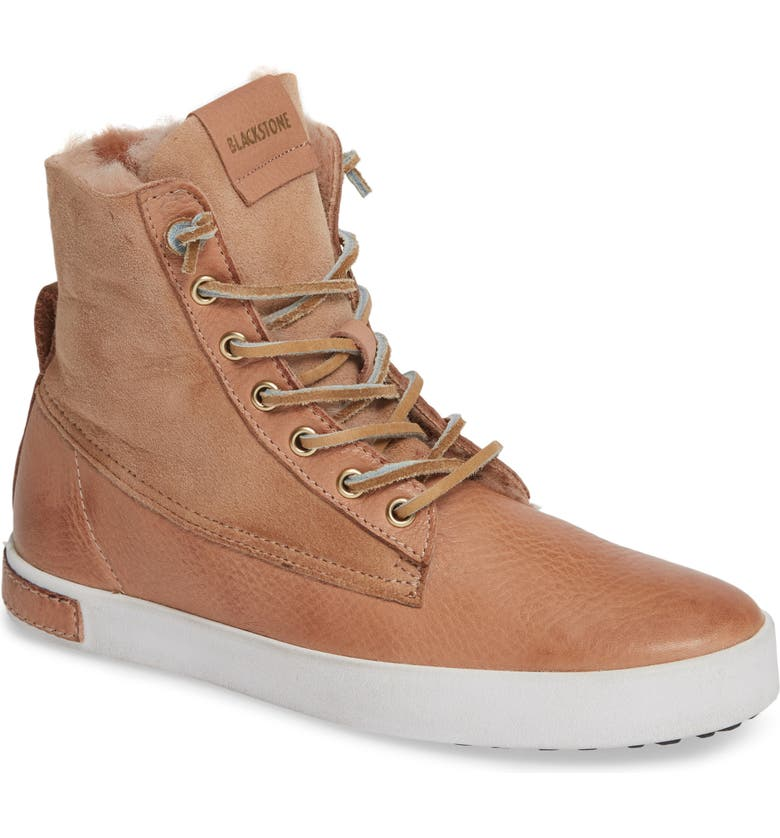 BLACKSTONE QL46 Genuine Shearling Lined Sneaker Boot, Main, color, CAFE AU LAIT LEATHER