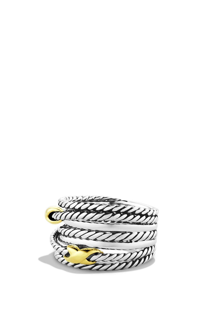 DAVID YURMAN Double X Crossover Ring, Main, color, TWO TONE