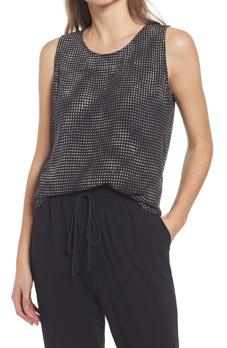 HALOGEN<SUP>®</SUP> Scoop Neck Woven Shell, Main, color, BLACK- GREY LILY TEXTURE