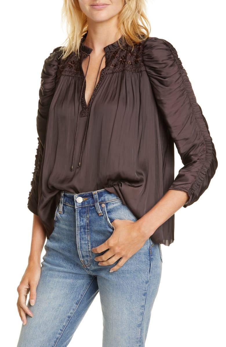 ULLA JOHNSON Lissa Ruched Blouse, Main, color, 001
