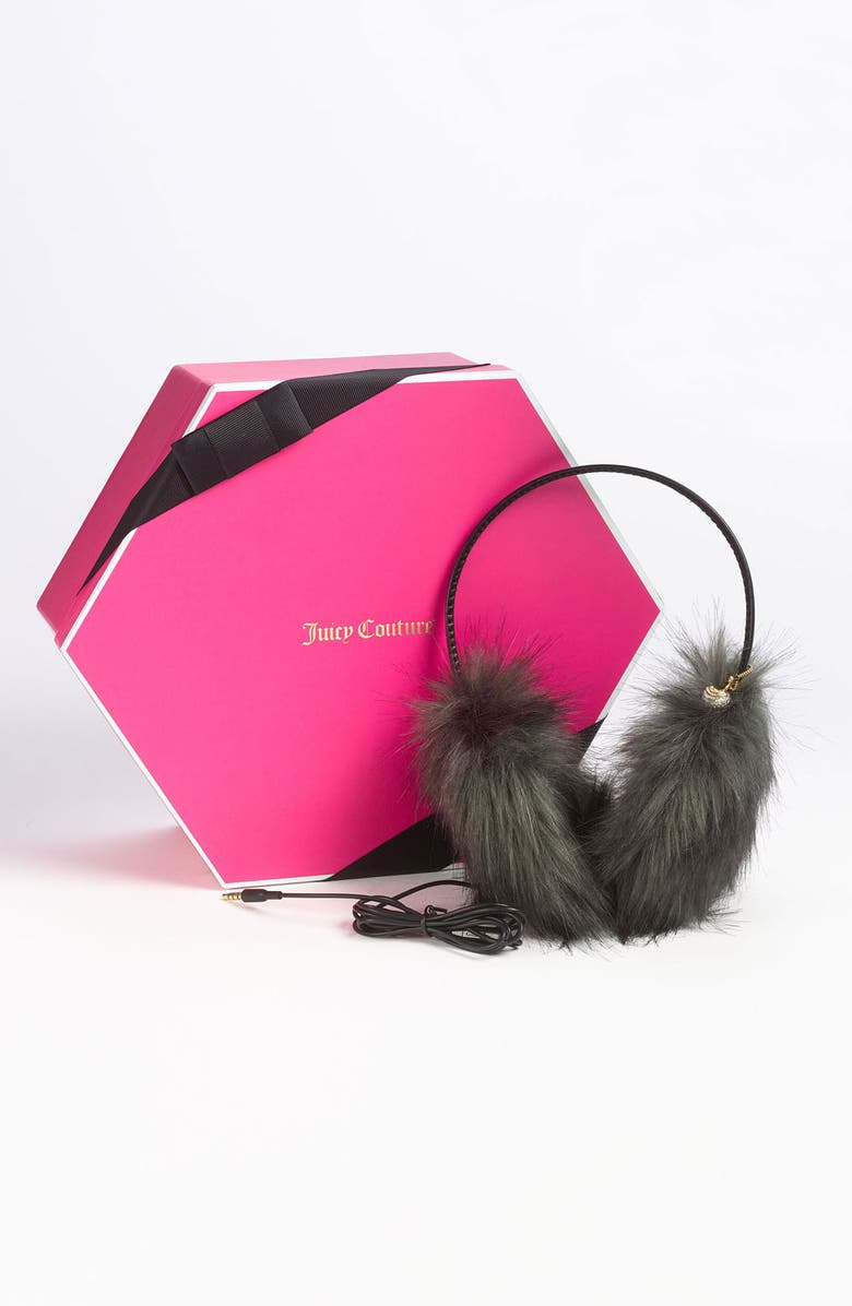 JUICY COUTURE Faux Fur Headphone Earmuffs, Main, color, 020