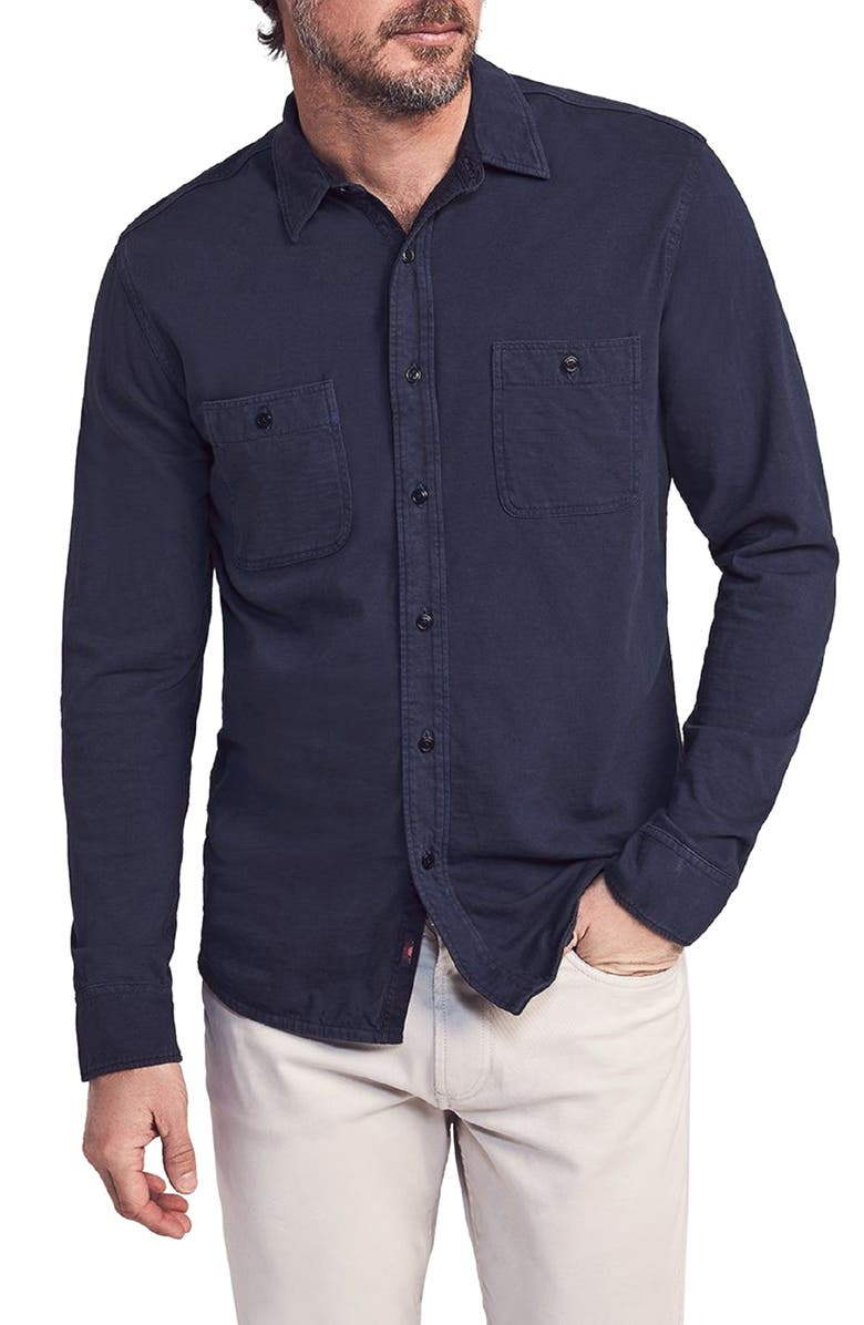 FAHERTY Seasons Knit Button-Up Shirt, Main, color, BLUE NIGHTS