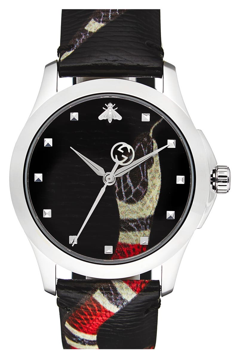 GUCCI Snake Insignia Leather Strap Watch, 40mm, Main, color, BLACK
